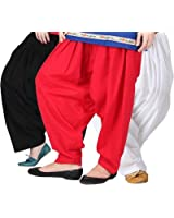 Pistaa'S Women's Cotton Patiala Salwar Combo (ACPSBLKREDMW_Black, Red and White_Free Size)