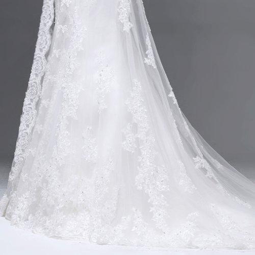 Damen Tuell Ausschnitt Kleidungen Mit Dearta Elfenbein Linie A Schleppe Hof Brautkleider Applikation V Drapiert 8dwxqHx4