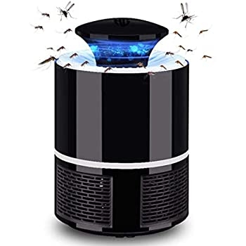 HUNTINGOOD Electric Mosquito Insect Killer/mosquito trap/Bug Zapper with 360 Degrees LED Trap Lamp,Strong Built in Suction Fan,USB Power Supply,Chemical-free and Quite for Indoor (Black/White) (Black)