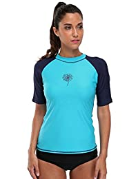 Attraco Women's Short-Sleeve Rashguard Swimwear UPF 50+ Rash Guard Athletic Tops
