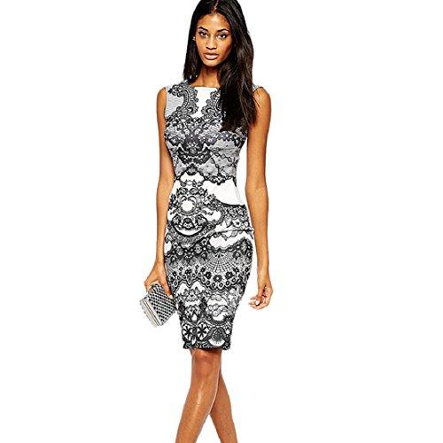 Doinshop-Women-Flower-Printed-Pencil-Dress-Fitted-Sleeveless-Dress-Skirt