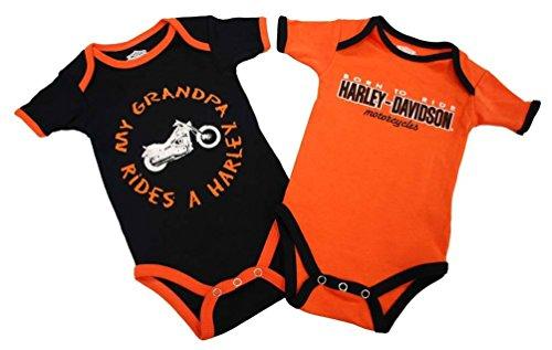 Price comparison product image Harley-Davidson Boys Baby Twin Pack Creeper My Grandpa Rides a Harley Orange 3 / 6M
