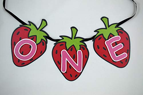 Strawberry ONE First Birthday High Chair Banner