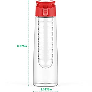 Vremi 24 oz Fruit Infused Water Bottle - BPA Free Sports Water Bottle with Fruit Infuser Filter and Flip Top Lid Cap - Large Tritan Plastic Eco Drinking Cool Clear Travel Reusable Water Bottles - Red