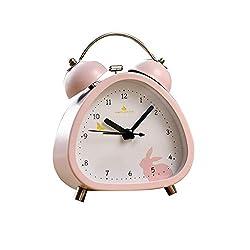 Alarm Clock LITING_Wang Creative Cute Cartoon Triangle Bedroom Bedside Mute Children Students Simple Mini Metal Small Table Clock (Color : Pink Rabbit)