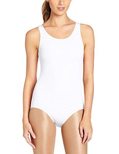 FAIMILORY Women's Basic Solid Scoop Neck Bodysuit Stretch Leotard (S, White Tank)