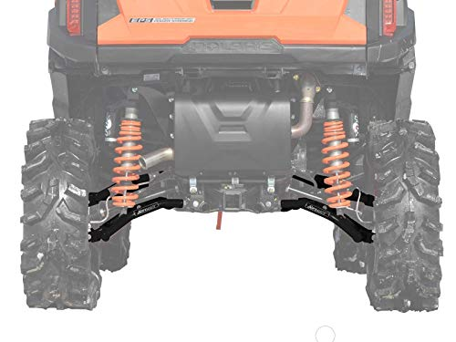 SuperATV Heavy Duty High Clearance Rear Offset A-Arms for Polaris General 1000 / General 4 (See Fitment) - Black