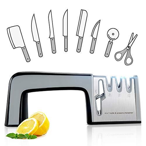 - Knife Sharpener Scissor Sharpener, RIVERSONG Multi-functional Home Kitchen Knives Sharpening Tool 4-in-1 Manual System 3 Stage Knife Sharpening Non-slip Base with Ergonomic Design Gift for Mother