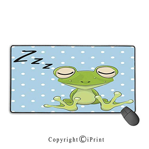 Waterproof coated mouse pad,Cartoon,Sleeping Prince Frog in a Cap Polka Dots Background Cute Animal World Kids Home Decor,Green Blue,Premium textured fabric, non-slip rubber base Mouse pad with lock,1