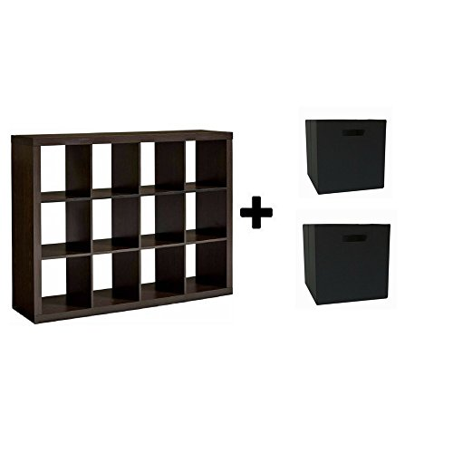 Cube Display 12 (Better Homes and GardensBH15-084-199-09 12-Cube Organizer, (Espresso with Bin))