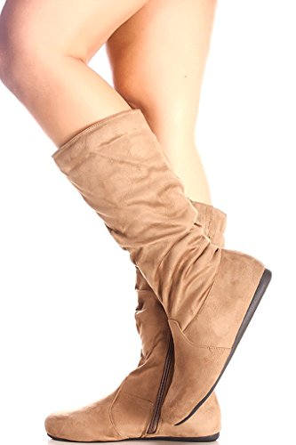 Forever Link Suede Material Lado Cremallera Casual Knee Botas Altas Taupe S23