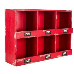 Red Wood Shelf with Six Openings