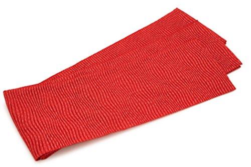 北米ゾーンめったに半幅帯 おび工房 桐生織 赤 レッド 波 縞 ラメ 絽 メッシュ 夏向け 夏祭り 花火大会 女性帯 細帯 半巾帯