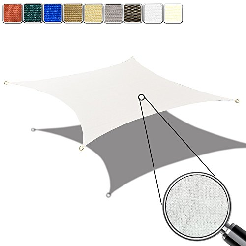 Alion Home HDPE UV Block Sun Shade Sail Permeable Canopy – Square and Rectangle – Custom 185GSM 12 X 14 , White