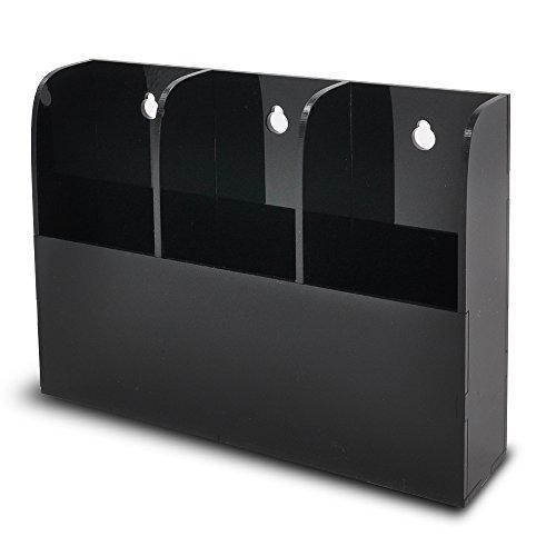 TheJD Acrylic Remote Control Holder Wall Mount Media Organizer Box 3T Acrylic Black 03