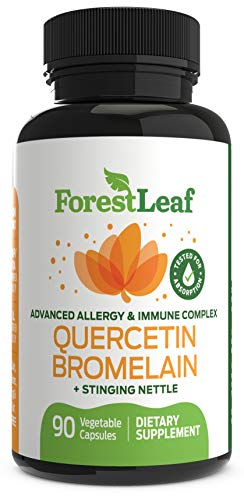Advanced Sinus and Allergy Relief Supplement - Quercetin Bromelain with Stinging Nettle - 90 Natural Vegetable Capsules - Non GMO, Dairy, Gluten, Egg and Nut Free - by ForestLeaf