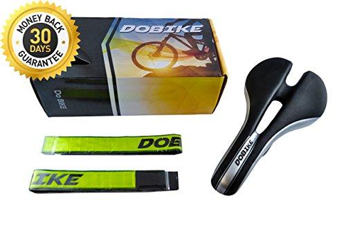 DOBIKE Bike Saddle with Guarantee +BONUS 2 Reflective Leg Bands+Video for Mount+Ebook – Comfortable Seats Saddle for Mountain Bike and Road Bike - Waterproof, Lightweight & Easy to Install