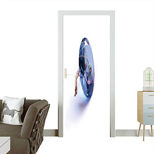 Homesonne 3D Photo Door Murals The Crystal Cut Under jewelery on which Hangs Gold Chainlet with a Medallion Easy to Clean and Apply W23.6 x H78.7 INCH ()