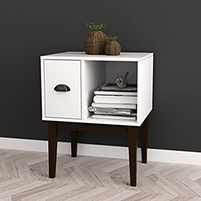 White/Espresso Nightstand Side End Table with Drawer - Color: White and Espresso Material: MDF/Hardwood Features one Drawer and open shelf for extra space - nightstands, bedroom-furniture, bedroom - 41u4FTodVPL. SS400  -