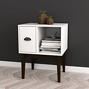 Amazon Com White Espresso Nightstand Side End Table