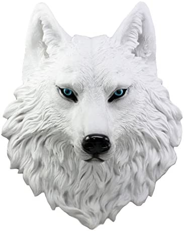 Ebros Large Ghost Albino Snow White Wolf Head Wall Decor Plaque 16″Tall Taxidermy Art Decor Sculpture Canis Lupus Wall Bust Plaque
