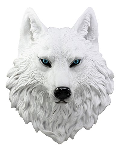 Ebros Large Ghost Albino Snow White Wolf Head Wall Decor Plaque 16