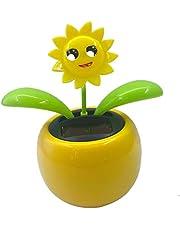 Car-Styling AUTO Solar Powered Dancing Flower Swinging Animated Bobble Head Dancer Toy Car Decoration Ornament - Sunflower 2, 10.5x6.5x11.3cm