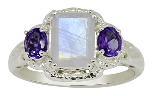 Banithani 925 ametyhyst argent et de l'anneau de bande de lune bijoux fantaisie indien