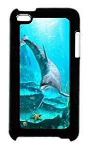 Ipod 4 Case,WENJORS Personalized Dolphin Hard CaseProtective Shell Cell Phone Cover For Ipod 4 - PC Black