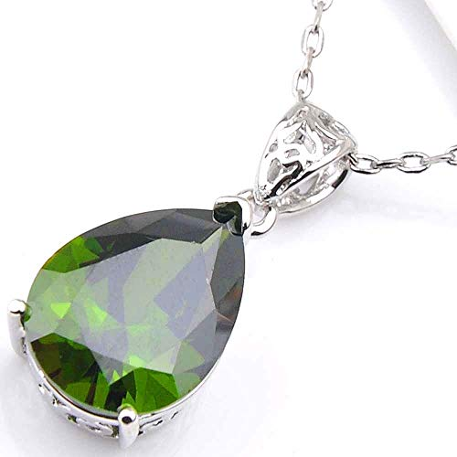 Jewelryamintra Water Drop Natural Olive Peridot Solid Silver Necklace Pendant with Free Chain