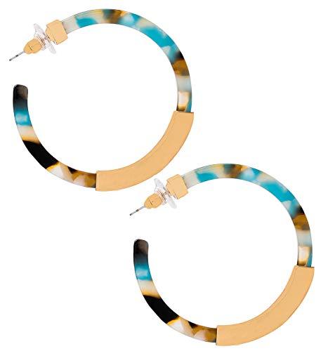 Hoop Earrings for Women Geometry Acrylic Resin Earrings Bohemia Tortoise Shell Earrings Mottled Statement Stud Earrings Fashion Jewelry (Blue Floral) by MOLOCH