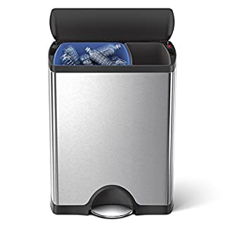 simplehuman 46 Liter / 12.2 Gallon Stainless Steel Rectangular Kitchen Dual Compartment Step Trash Can Recycler, Brushed Stainless Steel with Plastic Lid (B00DNMJW9M) | Amazon price tracker / tracking, Amazon price history charts, Amazon price watches, Amazon price drop alerts
