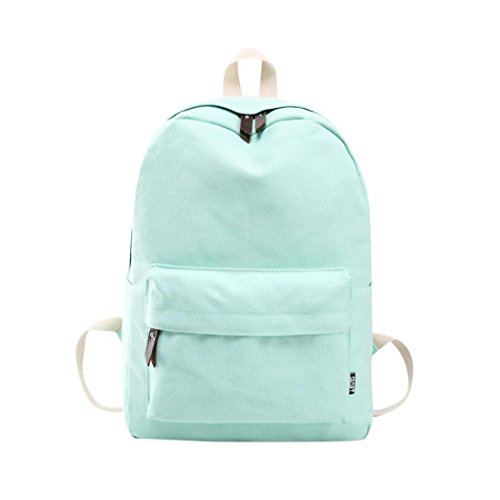 Outsta Women Girls Backpack Bag, Canvas Preppy Shoulder Bookbags School Travel Lightweight Classic Basic Water Resistant Backpack Fashion (Mint Green) by Outsta