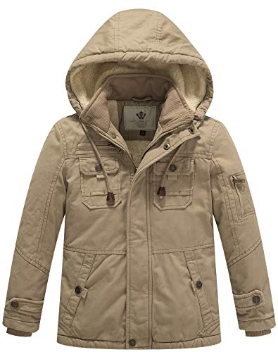 WenVen Boy's and Girl's Cotton Heavy Twill Hooded Jacket(Khaki,X-Small-6-7)