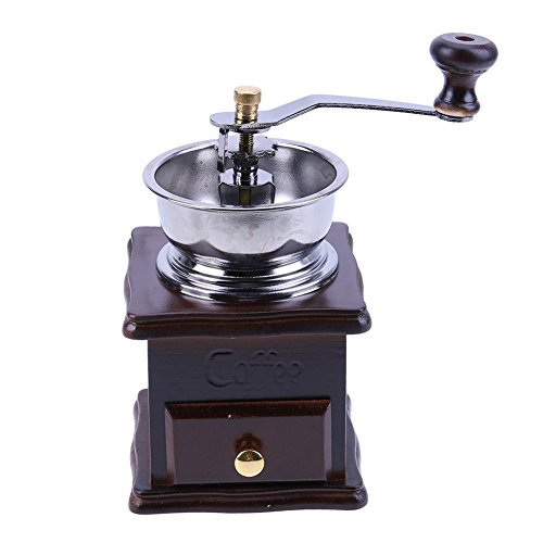 Matefield Mini Manual Coffee Mill Wood Stand Bowl Antique Hand Coffee Bean Grinder by Matefield (Image #1)
