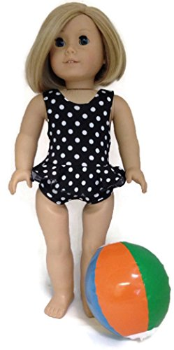 Black with White Polka Dots 1 piece Ruffled Swimsuit & Beachball fits 18