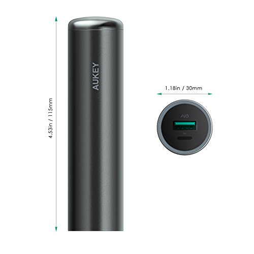 AUKEY minor portable Charger 5000mAh with the help of Lightning knowledge metal strength Bank for iPhone X 8 Plus 8 7 Samsung S8 Tablet Kindle Huawei Sony and far more Black journey Chargers