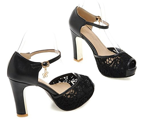 SFNLD Women's Sweet Peep Toe Low Cut Mesh Platform Ankle Strap High Chunky Heel Pumps Shoes with Buckle Black 4.5 B(M) US