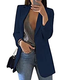 HeLov Women's Long Sleeve Solid Color Turn-Down Collar Coat Ladies Business Suit Cardigan Jacket Suit Blazer Tops