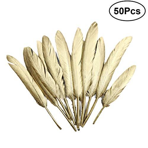 SUPVOX Plumas doradas hermosa pluma para centros de mesa de arte diy wedding home party decorations 50 unids