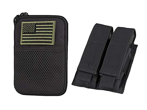 - CONDOR Pocket Pouch with US Flag Patch Black Double Pistol Mag Pouch