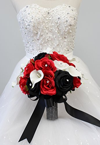 Angel Isabella Build Your Wedding Package-Artificial Flower Bouquet Corsage Boutonniere Rose Calla Lily Red White Black Wedding Theme (Round Bridal Bouquet)