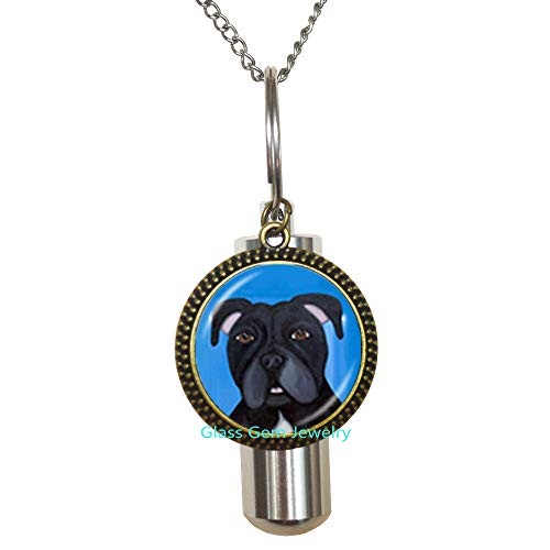 Pit Bull Dog Cremation URN Necklace American Pitbull Terrier Pet Puppy Rescue URN Bulldog Jewelry for Animal Lover Accessories,Q0222