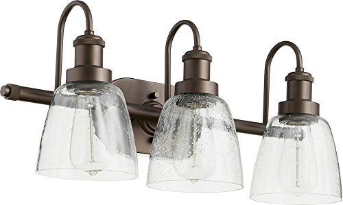 3-Light Clear/Seeded Vanity in Oiled Bronze (International 100 Watt 3 Light)