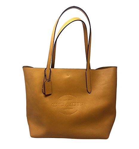 COACH Hudson Tote in Natural Smooth Leather in Mustard / Black Antique Nickel 59403 by Coach