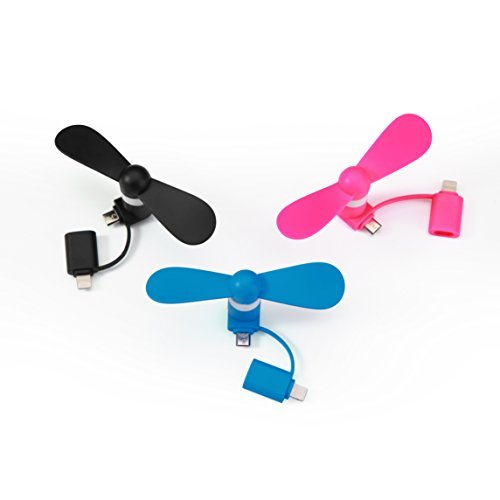 Mini Fan Portable USB for iPhone Android Smartphone 2-in-1, Mini Handheld Fan for Stroller Hot Weather Outdoor Summer Vacation Travel Accessories Peach/Black/Blue - 3 Pack