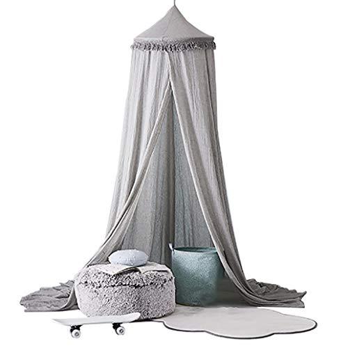 Beddings&Beddings Kukakoo Fashion 240cm Kids Baby Room Bed Dome Curtain Canopy Chiffon Tassel Hung Mosquito Net - Grey