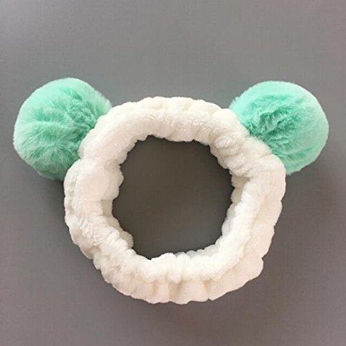 HJPRT korea lovely sweet lovely personality sell funny stretch plush ball bobbles face mask hair hoop headband hair bands (mint green