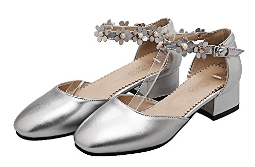 WeiPoot Solid Toe Heels Buckle Patent Women's EGHLH005594 Silver Closed Low Leather Sandals wCnTrCx