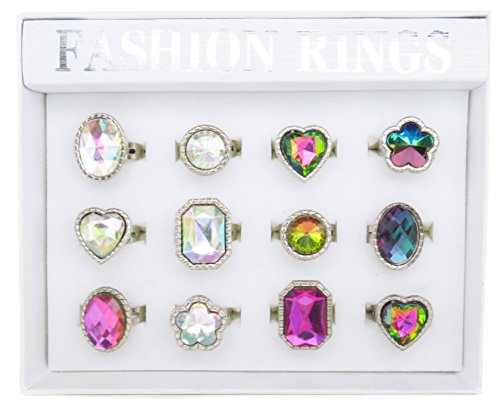 Aurora Stones (Bedazzled Faux Stone Rings for Girls Teen Tween Kids | 12 Piece Assorted Aurora Stones Ring Tray | Adjustable Size | Great Party Favors For Girls (Light/Dark Aurora - 12 pcs))
